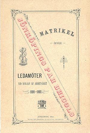 JPB Matrikel 1891-1892