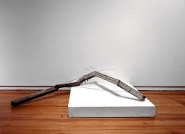Untitled (snake), 2009. Wood and ink/alcohol, cast concrete, steel wire and paint.