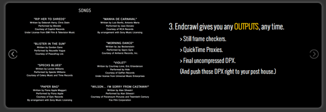 Creating end credit crawls online jonny elwyn film editor endcrawl from autoglyph looks like a promising new way easily create typeset end credit crawls and then out put them as dpx sequences maxwellsz