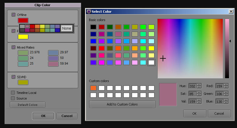 How to change the clip color in avid