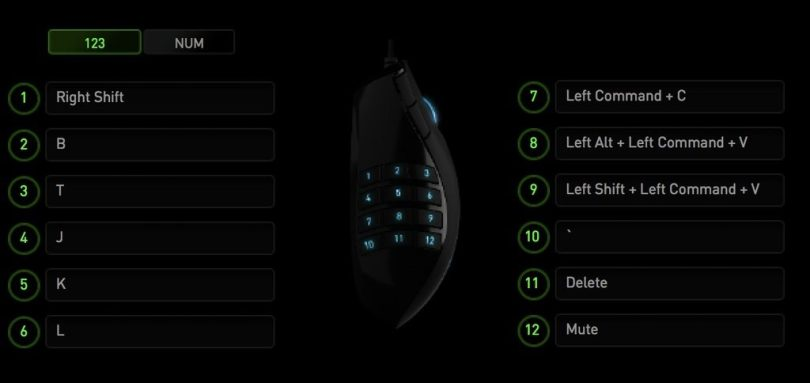 Razer naga FCPX set up