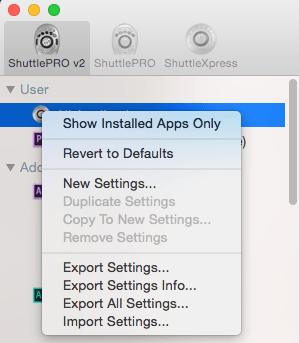 reduce apps list in shuttle pro 2