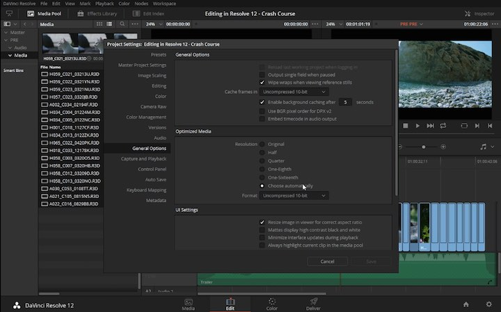 Crash course in editing in resolve