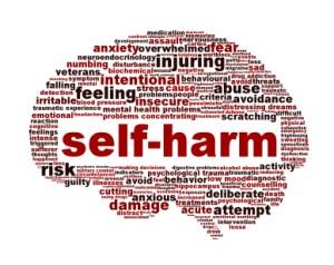 Self-harm mental health symbol isolated on white