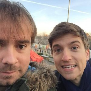 Jono Read with Radio 1's Breakfast Show presenter Greg James in Norwich
