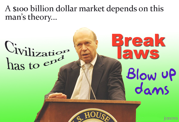The madness of NASA's James Hansen: Trace amounts of CO2 may make the weather so warm that 'even a person lying quietly naked in hurricane force winds would be unable to survive'; he envisions a few wealthy people desperately defending homes high in the Himalayan peaks against masses fleeing CO2-induced apocalypse