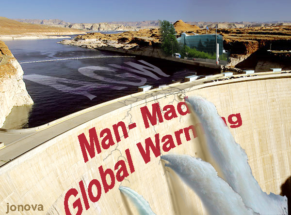 JoNova's PhotoShop of Glen Canyon Dam for an article on wildly inaccurate claims about climate change; original photo copyright by Wild Nature Images.