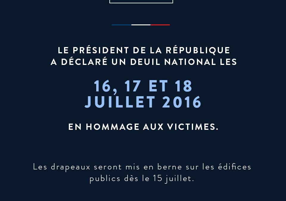 Deuil national – Attentat de Nice