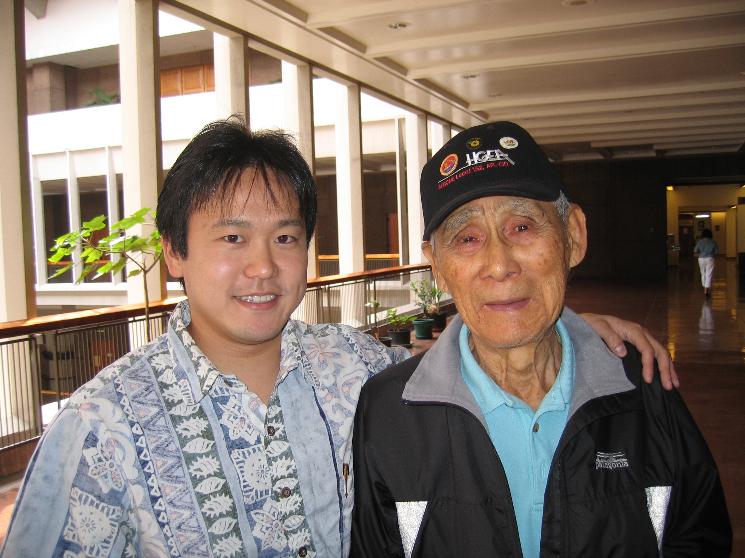 "Rep. Jon Riki Karamatsu and former Sen. Nadao ""Najo"" Yoshinaga in April 2006."