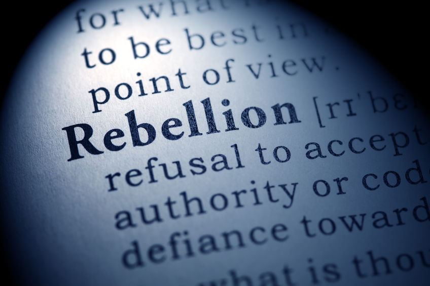 39085804 - fake dictionary, dictionary definition of the word rebellion.