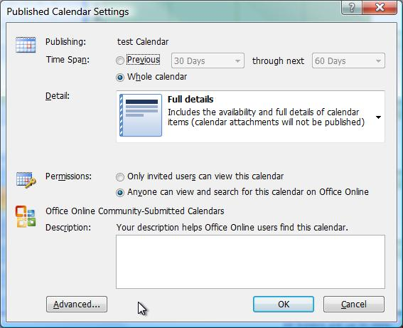 Free online calendar publishing, part 1: Outlook – Jon Udell