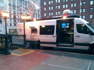 A news van sits outside Columbia on March 29, 2010. I took this photo as I walked toward my building.