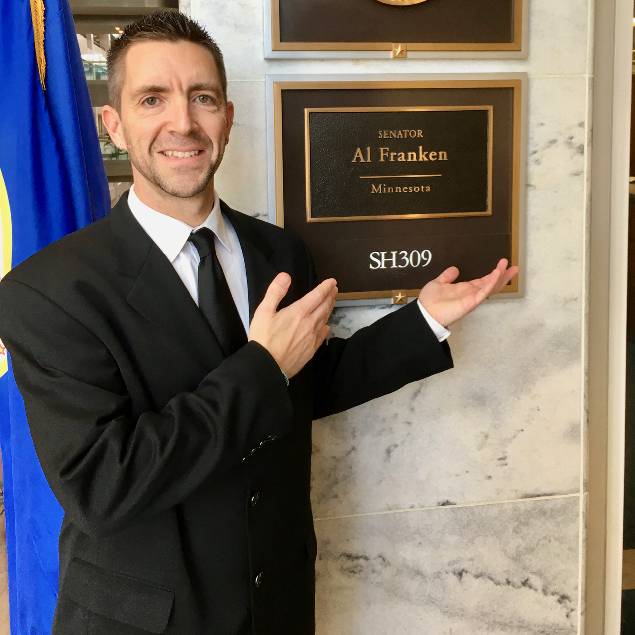 Jon Zal outside Al Franken's office