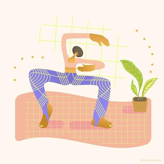 Nainen joogaa - piirretty