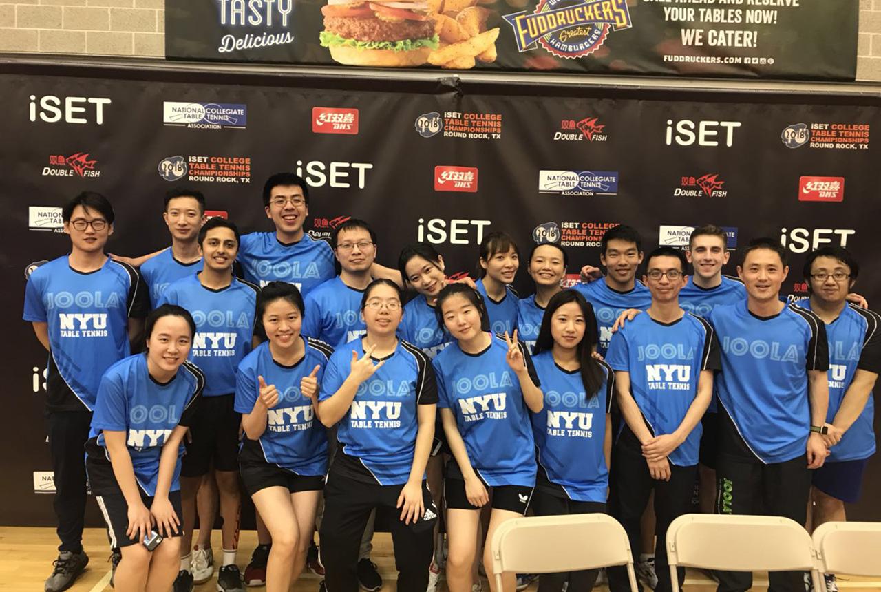 Adar Alguetti with his NYU Table Tennis Club Teammates