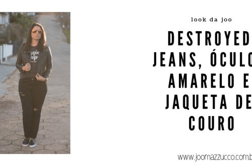 Elegance Functionality 52 - Look da Joo: Destroyed Jeans, Óculos Amarelo e Jaqueta de Couro