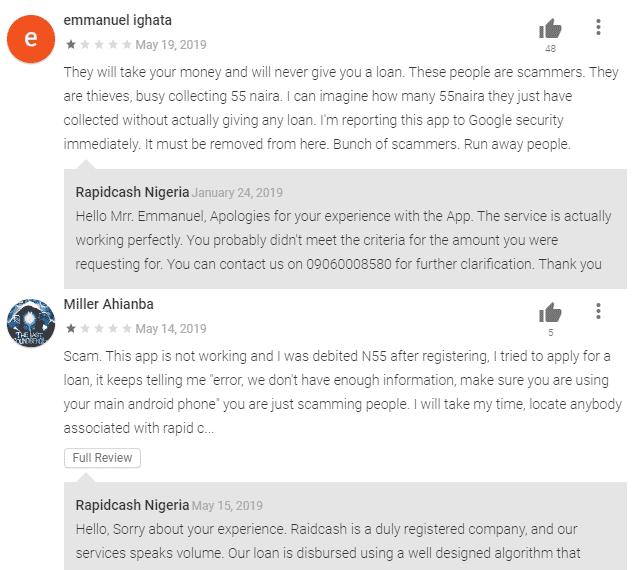 Customer reviews of rapid cash Nigeria