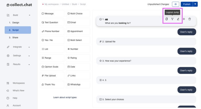 It's difficult to find how to make logic jumps with collect chat alternative