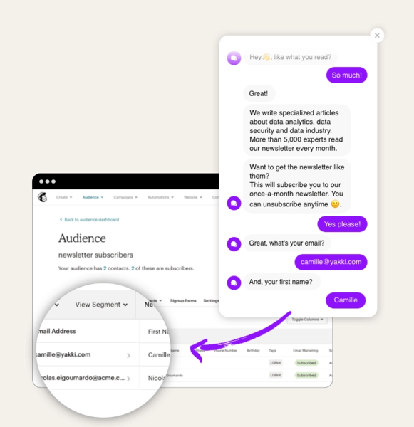 Amon our chatbot integrations, you can use our Integromat or Zapier integration to send data to Mailchimp.