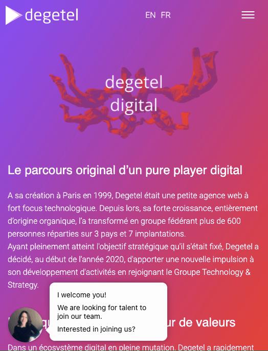 Degetel recruitment chatbot on their website