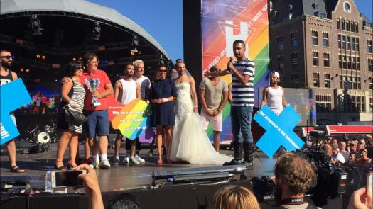 Raham Rafiee speaking at the Amsterdam Pride closing ceremony