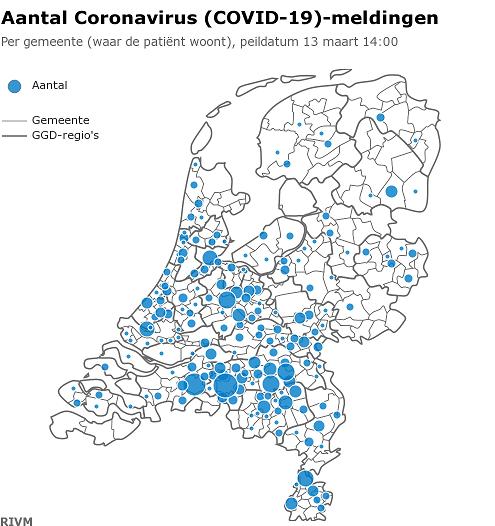 Aantal Coronavirus (COVID-19)-meldingen 123-3-2020