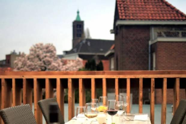 Vanaf het terras gezien heeft de balustrade een natuurlijke uitstraling en een functionele rand tbv glazen.