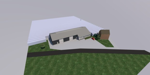 Visualisatie Nieuwbouw loods met kantoor Parren Quality Thorn