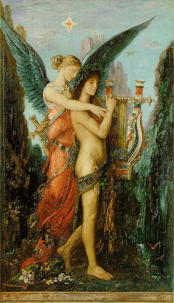 """""""Hesiod and the Muse"""" by Gustave Moreau"""