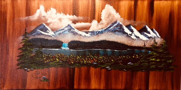 Mountain Scene on Wood Grain