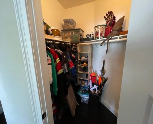 playroom closet, organized closet in playroom, kids closet