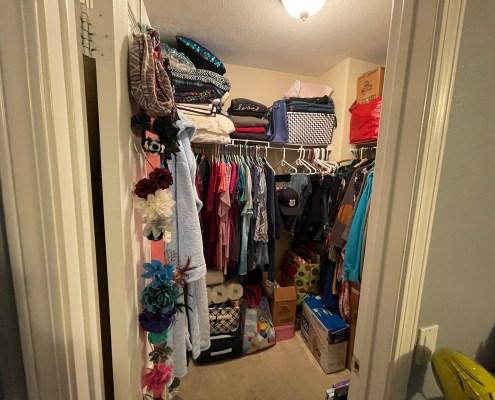 clean closet, bedroom closet, organized closet