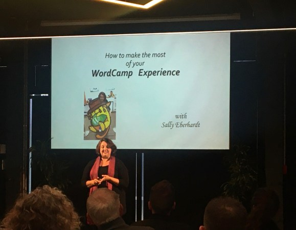 Photo of Sally Eberhart speaking at WordCamp Auckland 2019