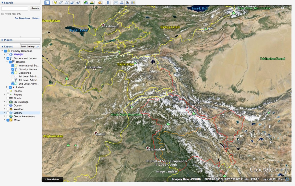 A screenshot of Google Earth showing the Afghanistan-China border