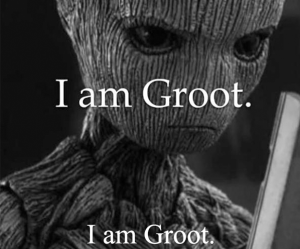 """Kaepernick ad parody: Groot (from Guardians of the Galaxy) with the text: """"I am Groot. I am Groot."""""""