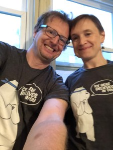 """My wife and I wearing matching """"Ice Bear Believes in You"""" shirts"""