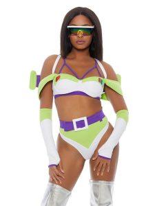 A woman in a white, purple, and green bikini with visor-like sunglasses