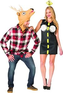 A couple costume - he in a plaid shirt with a deer head, she in a costume with a yellow line and headlights on her breasts