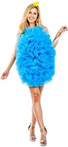A woman covered neck-to-thigh in a floofy light blue scrubber thing