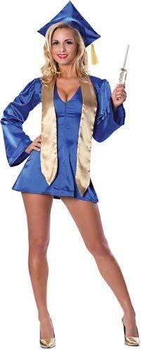 A woman in a short blue dress with a graduation cap