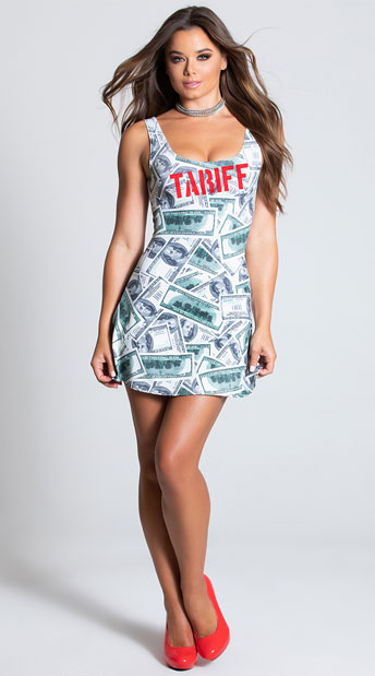 A woman in a short dress with printed $100 bills stamped TARIFF in red