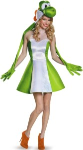 A woman in a green-and-white low cut dress with a dinosaur hat