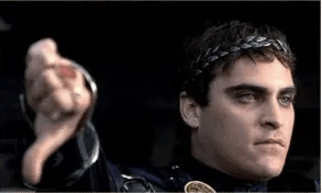 Emperor Commodus (Joaquin Phoenix) gives the thumbs-down sign from the movie Gladiator
