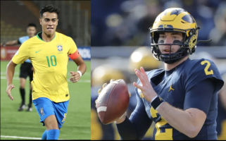 A Brazilian soccer player (left) and a University of Michigan football player (right)
