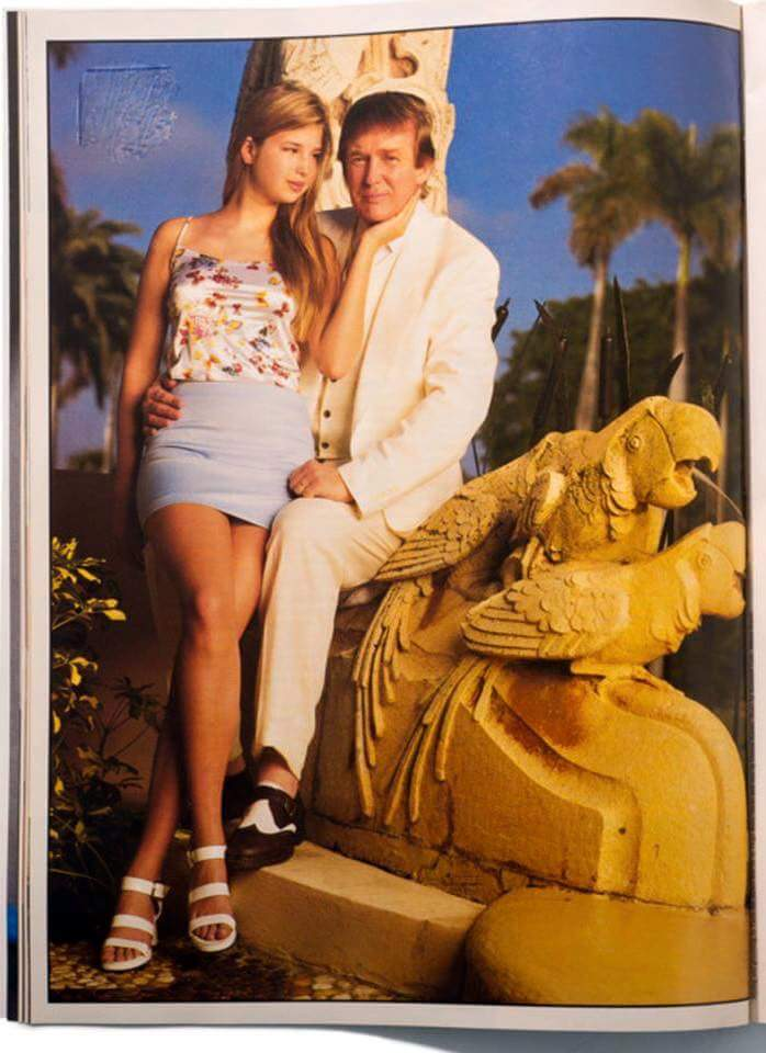 Donald Trump with his hand around Ivanka's hip (she's 15) sitting on a statue of two sexy parrots having sexy sex