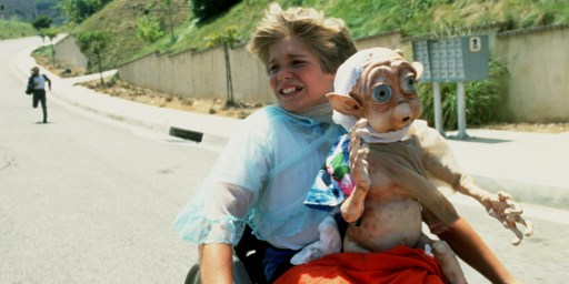 "A screenshot from the absolutely terrible film ""Mac and Me"" (1988) featuring a kid in a wheelchair and an alien something something adventures saving the world?"