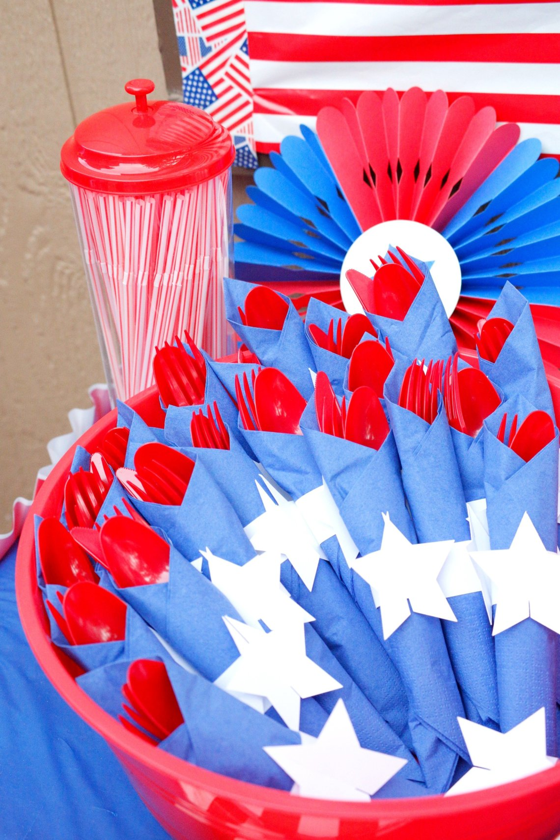 These festive DIY Patriotic napkin rings are super easy to make and add a fun decorative element to your red, white, and blue patriotic party.