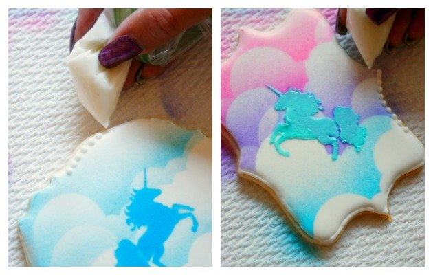 Here's a tutorial for making stenciled unicorn sugar cookies - perfect for a magical unicorn party!