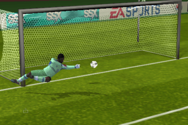 A goalie trying to save a shot