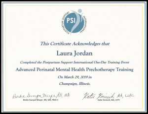 Certification for perinatal mental health . If you're looking for a highly qualified professional, Laura Jordan, owner of Jordan Therapy Services is the person to go to. During this time, she has shifted to online therapy in texas or online therapy in indiana. She can also do message based therapy. Email today!